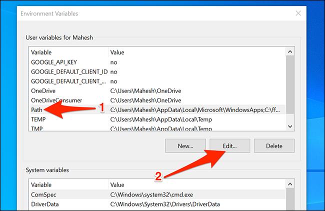 Edit paths on Windows 10