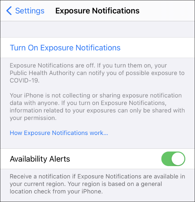 The Availability Alerts setting for COVID-19 exposure notifications on iPhone.