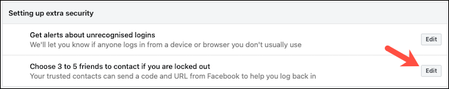 Edit Facebook Trusted Contacts
