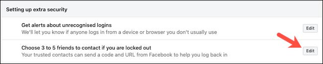 Edytuj zaufane kontakty z Facebooka