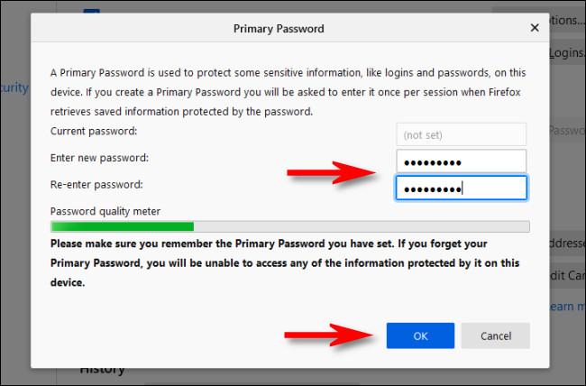 """В настройках Firefox введите основной пароль, затем нажмите """"OK."""""""