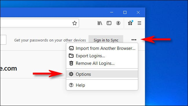 """In Firefox Logins & Passwords, click the ellipses button then select """"Options."""""""