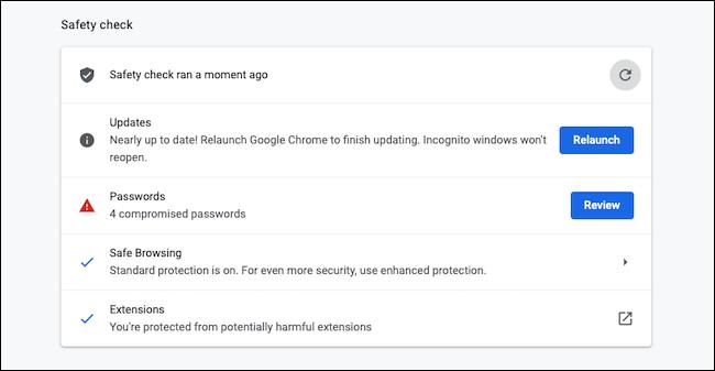 Run Safety Check on Google Chrome
