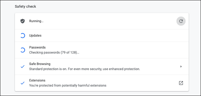 Safety Check on Google Chrome