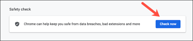 Find Safety Check setting in Google Chrome
