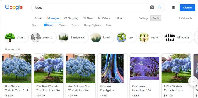 """Examples of """"Blue"""" trees in Google Image search results."""