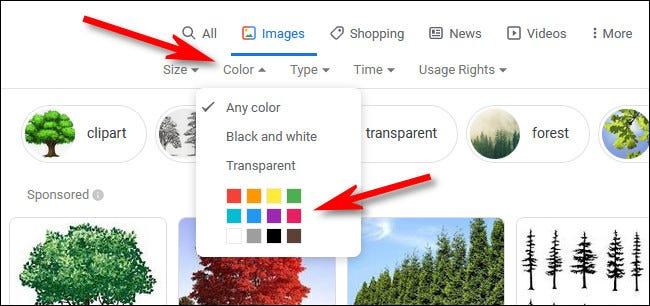 """In Google Image search, click the """"Color"""" menu, then select a color."""