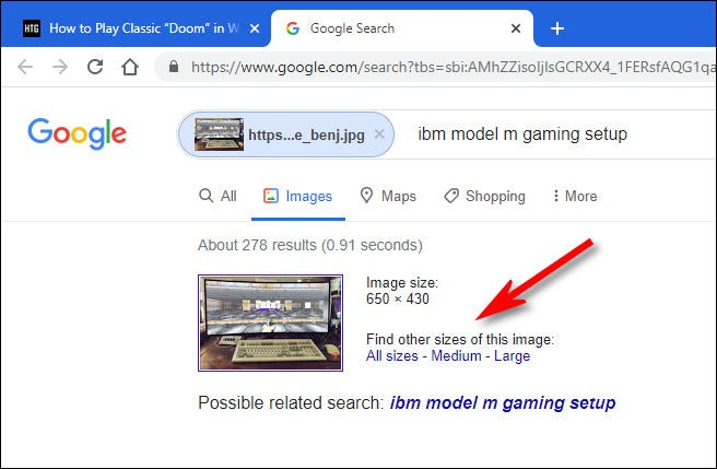 In Google Image search, click a choice to find all sizes of the image.