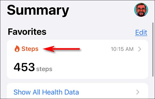 In the Health app, tap