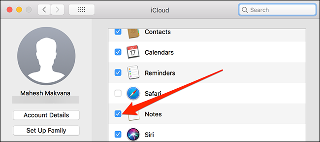 Sync macOS notes to iCloud