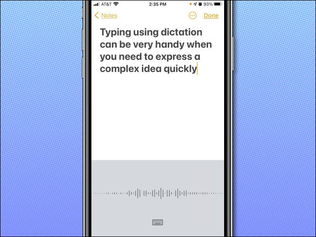 An example of dictation in action on the iPhone.