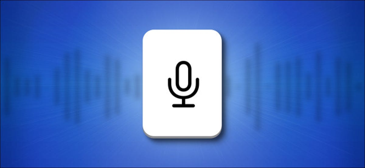 iPhone and iPad Microphone Keyboard Button on a blue background