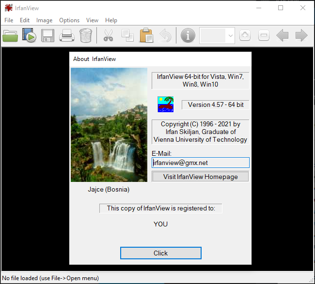 Irfanview's About windows on Windows 10.