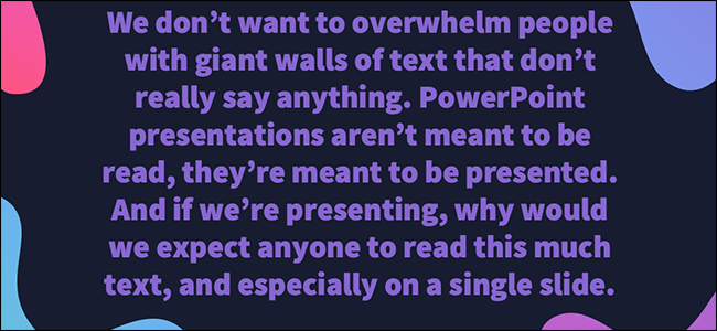 avoid walls of text
