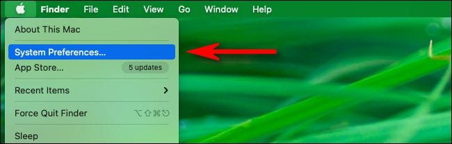 "Click the Apple menu, then select ""System Preferences."""