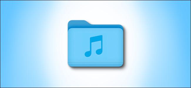 Mac Big Sur Music Folder icon on a blue background