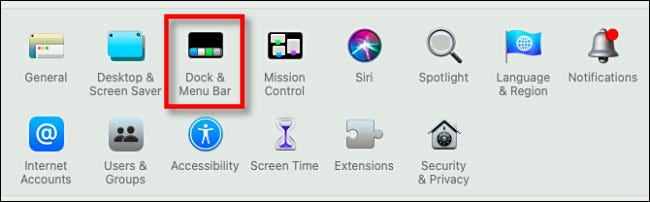 "In System Preferences, click ""Dock & Menu Bar."""