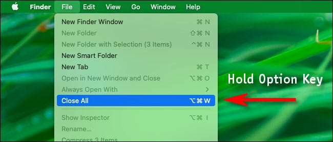 "In Finder, click ""File"" in the menu bar while holding down option to see the ""Close All"" option."