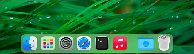 Um exemplo de um Mac Dock sem aplicativos recentes mostrados.