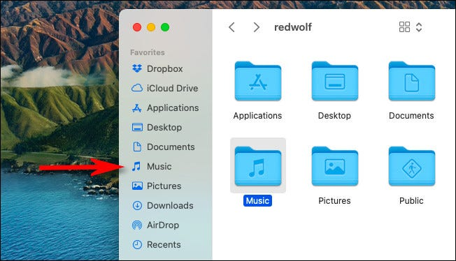 """The """"Music"""" shortcut in the Finder """"Favorites"""" sidebar."""
