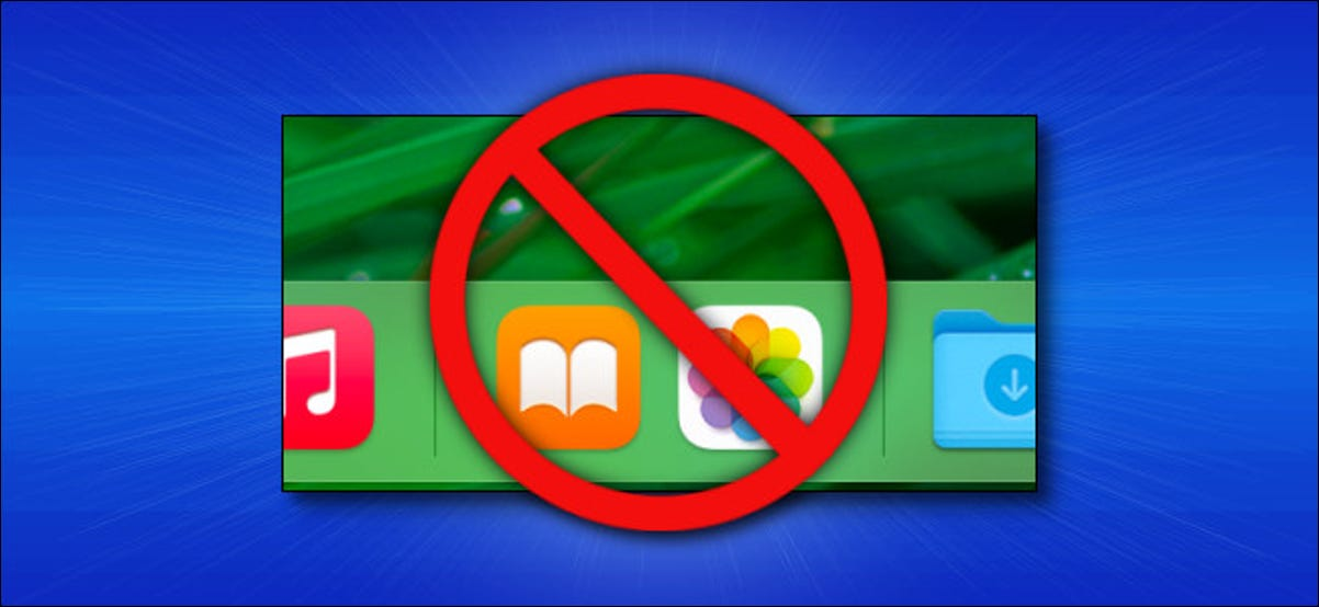 The recent apps section of the Mac Dock with a cancel symbol over them.