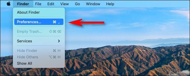 """Click the """"Finder"""" menu, then select """"Preferences."""""""