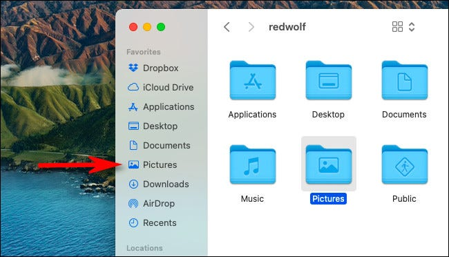 """The """"Pictures"""" shortcut in the Finder """"Favorites"""" sidebar."""