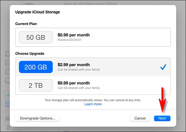 """Выберите тарифный план iCloud, затем нажмите """"Следующий."""""""