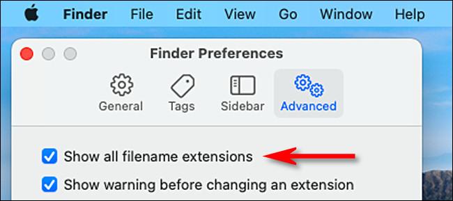 """В настройках Advanced Finder установите флажок рядом с """"Показать все расширения файлов."""""""