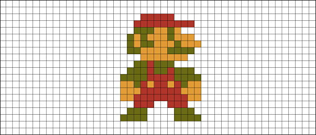 A bitmap of Mario from Super Mario Bros. on the NES.