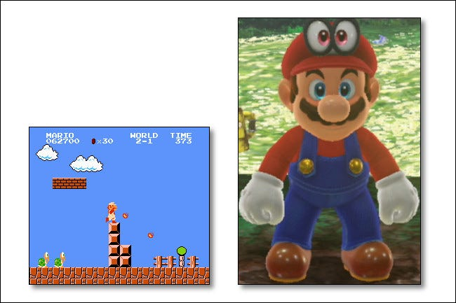 Today's Mario in Mario Odyssey uses more pixels than the entire NES system resolution.