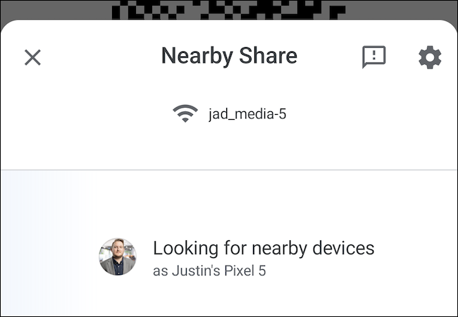 Nearby Share Wi-Fi sharing
