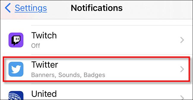"In ""Notifications,"" tap ""Twitter."""