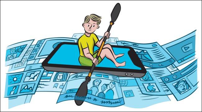 A representation of a person navigating online media.