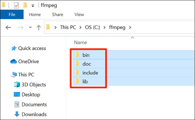 Вставить папки FFmpeg