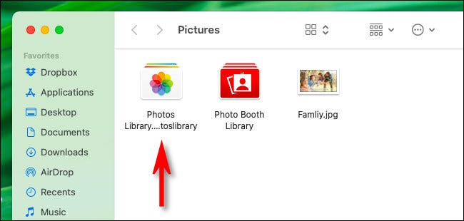 "The ""Photos Library.photoslibrary"" file seen in Finder."