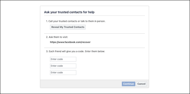 Recover Facebook account with trusted contacts