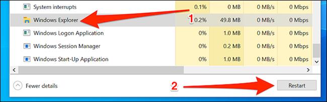 Khởi chạy lại Windows Explorer