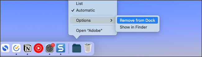 Remove a file or folder from Mac dock