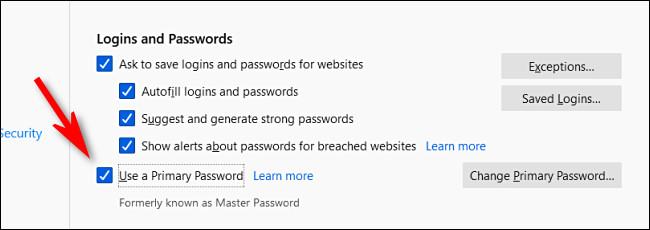 """В параметрах входа и пароля Firefox снимите флажок """"Используйте основной пароль."""""""