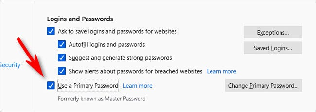 """In Firefox Login and Password options, uncheck """"Use a Primary Password."""""""
