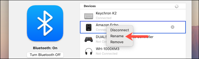 Click the Rename option in macOS Bluetooth settings