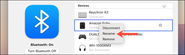 Click Rename option in macOS Bluetooth settings