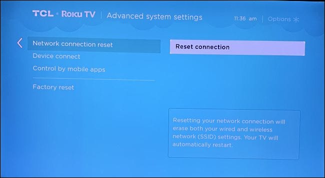 "Select ""Reset connection"" on the settings screen."