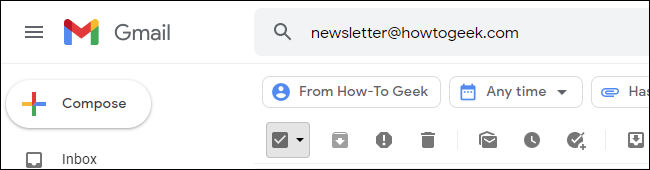Searching for How-To Geek newsletters in Gmail.