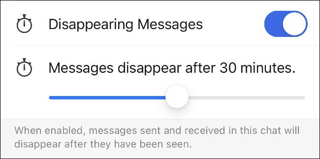A Jelben eltűnő üzenetek engedélyezése