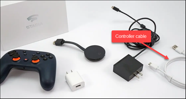stadia controller and cable