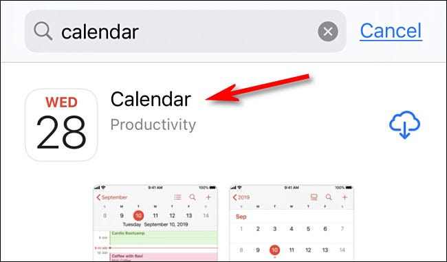 """In the App Store, tap """"Calendar"""" in the search results."""