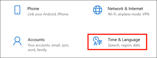 Access time and language settings