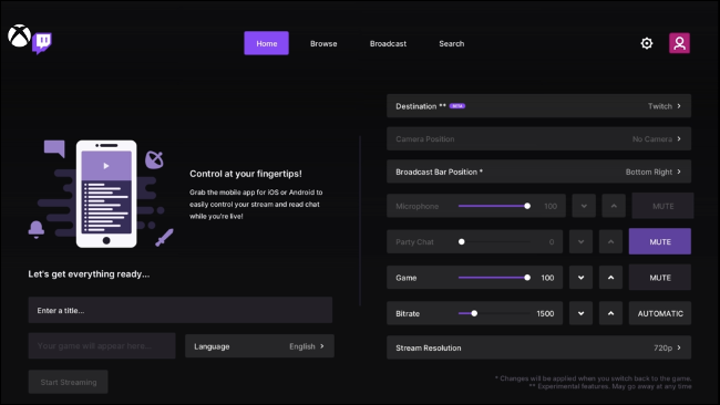 Start Broadcasting with Twitch